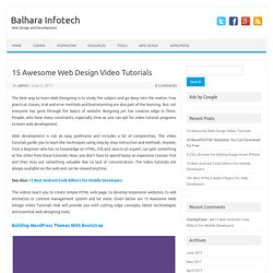 15 Awesome Web Design Video Tutorials – Balhara Infotech