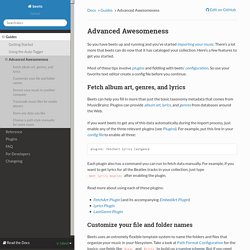 Advanced Awesomeness — beets 1.3.14 documentation