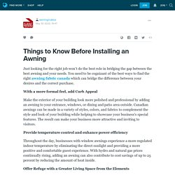 Things to Know Before Installing an Awning