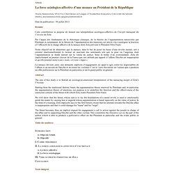 La force axiologico-affective d'une menace au Président de la République - Signes, Discours et Sociétés (version imprimable)