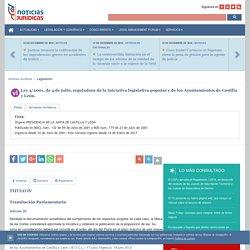 Ley 4/2001, de 4 de julio, reguladora de la iniciativa legislativa popular y de los Ayuntamientos de Castilla y León. TITULO IV.Tramitación Parlamentaria.