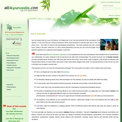 Sex and ayurveda - safe and effective ayurvedic cure for sex related ailment