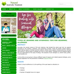 Types of Seasons and Ayurvedic tips for Seasonal Allergies