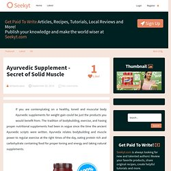 Ayurvedic Supplement - Secret of Solid Muscle