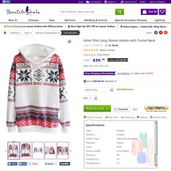 Aztec Print Long Sleeve Hoodie with Funnel Neck