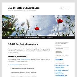 B.A. BA Des Droits Des Auteurs