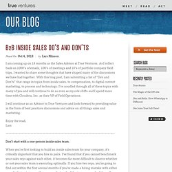 B2B Inside Sales Do's and Don'ts
