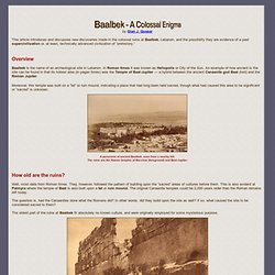 Baalbek - A Colossal Enigma