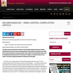 MOJMIR BABACEK – MIND CONTROL COMPILATION ARTICLE