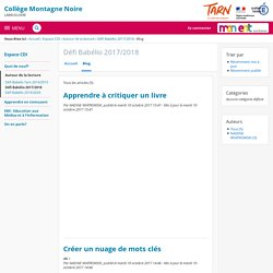 Blog - Défi Babélio 2017/2018 - Collège de la Montagne Noire