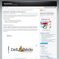 Défi Babelio : présentation du projet (séance 1)