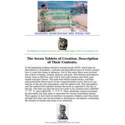 the Babylonian Legends of Creation: The Seven Tablets of Creation. Description of Their Contents