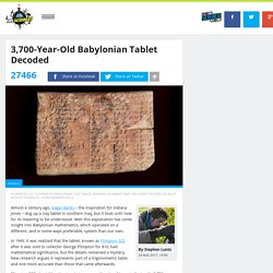 Ancient Babylonian Tablet Explained As A Trigonometric Table