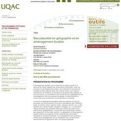 Baccalauréat en géographie et en aménagement durable - Programmes - Université du Québec à Chicoutimi
