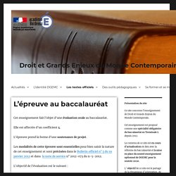 L'épreuve au baccalauréat – Droit et Grands Enjeux du Monde Contemporain