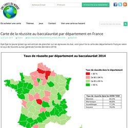 Carte de la réussite au baccalauréat par département en France