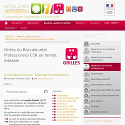 Grilles du Baccalauréat Professionnel CSR en format éditable
