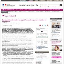 """Baccalauréat : rapport """"Propositions pour une évolution du baccalauréat"""""""