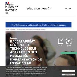 Baccalauréat général et technologique : adaptation des modalités d'organisation de l'examen au contexte sanitaire