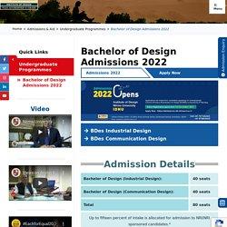 Bachelor of Design Admissions 2020 - Department of Design