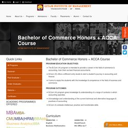 Bachelor of Commerce Honors + ACCA Course