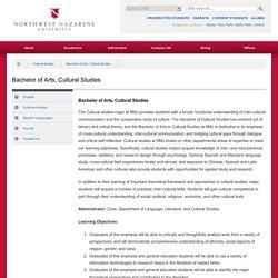 Bachelor of Arts, Cultural Studies - Northwest Nazarene University