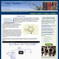 Bachelor's Degree Eesearch Papers on the Academic Degree of an Undergraduate Course