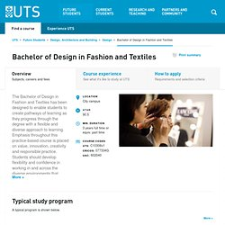 Bachelor of Design in Fashion and Textiles