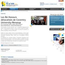 Bachelors de Coventry University : Global Business et Global Marketing