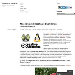 Materiales de Filosofía de Bachillerato on-line abiertos