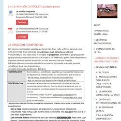 6.a- La Oración Compuesta (1) - Segundo bachillerato selectividad lengua jimdo page!