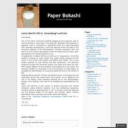 Lacto Bacilli (Gil A. Carandang's article) « Paper Bokashi