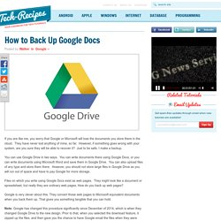 How to Back Up Google Docs