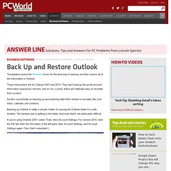 Back Up and Restore Outlook