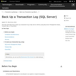 Back Up a Transaction Log (SQL Server)