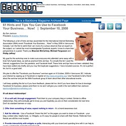 Backbone Magazine - 61 Hints and Tips You Can Use to Facebook Your Business… Now!