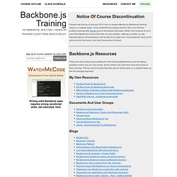 Backbone.js Training - A Multi-Day, Hands-On, Training Class