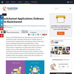 Backchannel Applications: Embrace The Backchannel