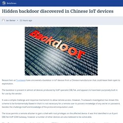 Hidden backdoor discovered in Chinese IoT devices – BetaNews