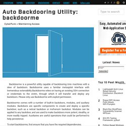 Auto Backdooring Utility: backdoorme