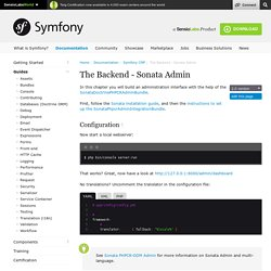 The Backend - Sonata Admin (The Symfony CMF)