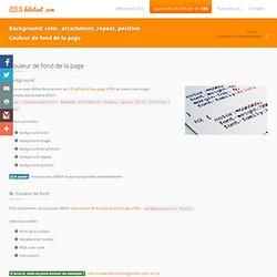 Mettre une image en fond d'une page en CSS (background-color image attachment repeat position)