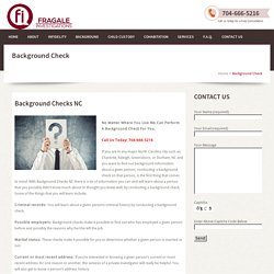 Services for Background Check Charlotte NC