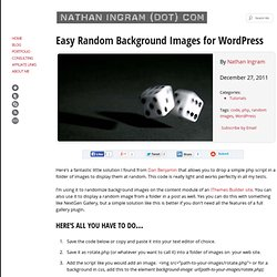 Easy Random Background Images for WordPress :: NathanIngram(dot)com