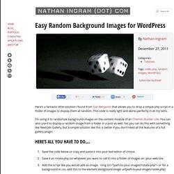 Easy Random Background Images for WordPress :: NathanIngram(dot)com