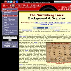 Background & Overview of the Nuremberg Laws