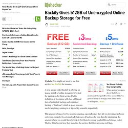 Backify Gives 512GB of Unencrypted Online Backup Storage for Free