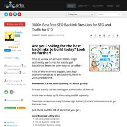 3000+ Best Free SEO Backlink Sites Lists for SEO and Traffic for $10
