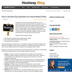 Eight Easy Backlinks from Social Media Profiles | Hostway Web Resources | Hostway Web Solutions