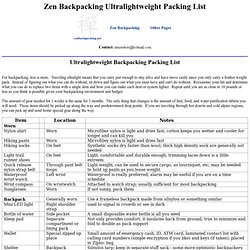 Zen Backpacking - Ultralightweight Backpacking Packing List